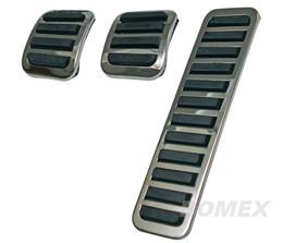 Pedalsatz, Gas, Bremse und Kupplung, Chrom/Gummi, 8.61-