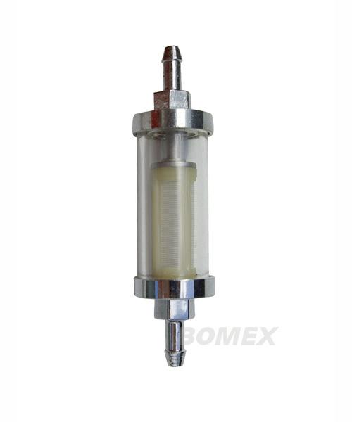 Benzinfilter, Chrom/Glas, 6mm Anschluss
