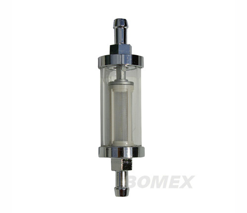 Benzinfilter, Chrom/Glas, 8mm Anschluß