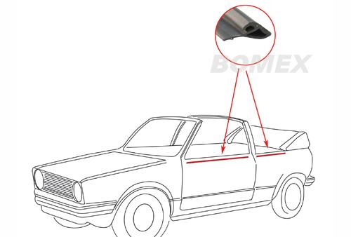 Türschachtdichtung, außen, vorne/hinten, links, Golf 1 Cabrio