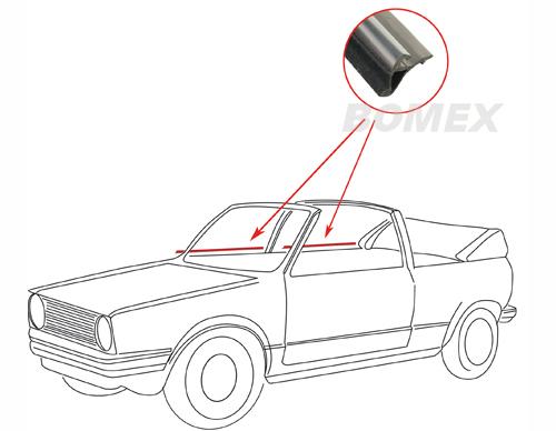 Türschachtdichtung, außen, vorne/hinten, rechts, Golf 1 Cabrio