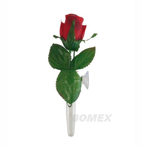 Blumenvase, Plexiglas, mit roter Rose