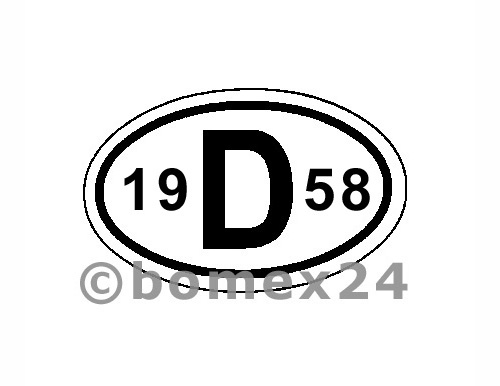 "D-Schild mit Jahreszahl ""1958"" Aluminium"