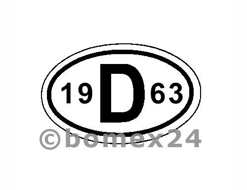 "D-Schild mit Jahreszahl ""1963"" Aluminium"