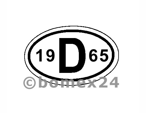 "D-Schild mit Jahreszahl ""1965"" Aluminium"