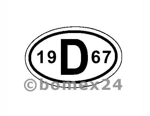 "D-Schild mit Jahreszahl ""1967"" Aluminium"