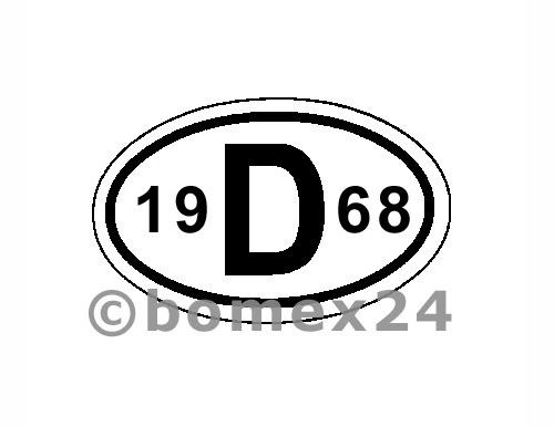 "D-Schild mit Jahreszahl ""1968"" Aluminium"
