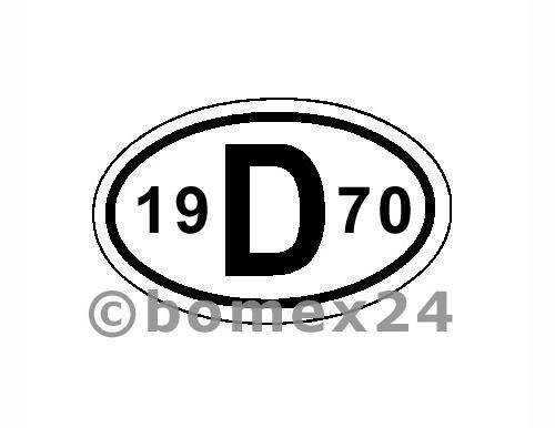 "D-Schild mit Jahreszahl ""1970"" Aluminium"