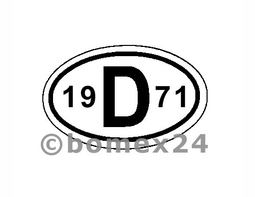 "D-Schild mit Jahreszahl ""1971"" Aluminium"