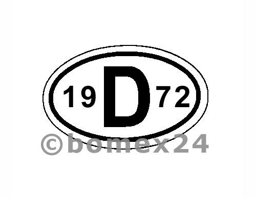 "D-Schild mit Jahreszahl ""1972"" Aluminium"