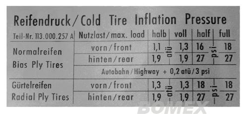 "Aufkleber ""Reifendruck"", Käfer, Karmann Ghia"