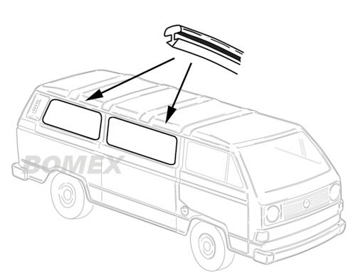Zierkeder, Seitenscheibe, Mitte+hinten, Bus T2/3