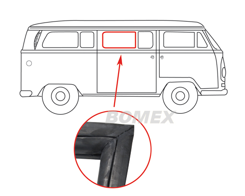Mittel-Türfensterdichtung, geteilt, Bus T2