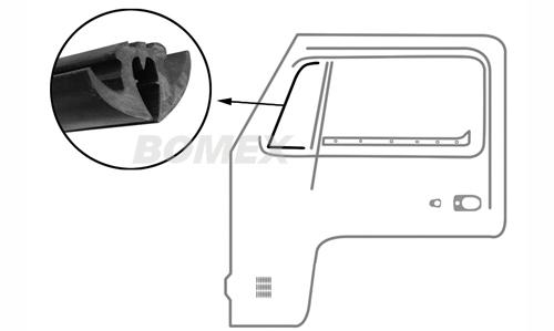 Drehfensterdichtung, links, Bus T2, 8.67-7.79